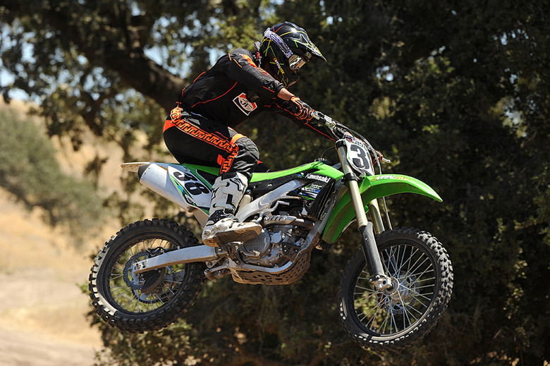 Thanks to built in adjustability with the KX450F's different handlebar and footpeg mounts, taller riders can find to the fit they are looking for. Photo Credit - Kinney Jones