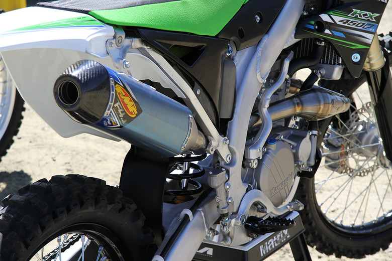The FMF system mounts perfectly on the 2013 Kawasaki KX450F.