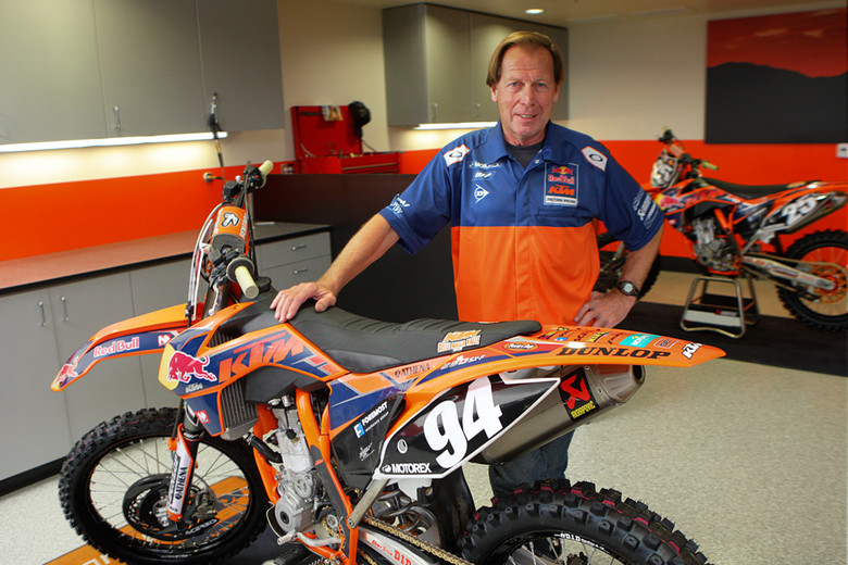 Roger DeCoster's suitably proud of the new shop, though apparently he can be most often found in the machine shop elsewhere in the building.