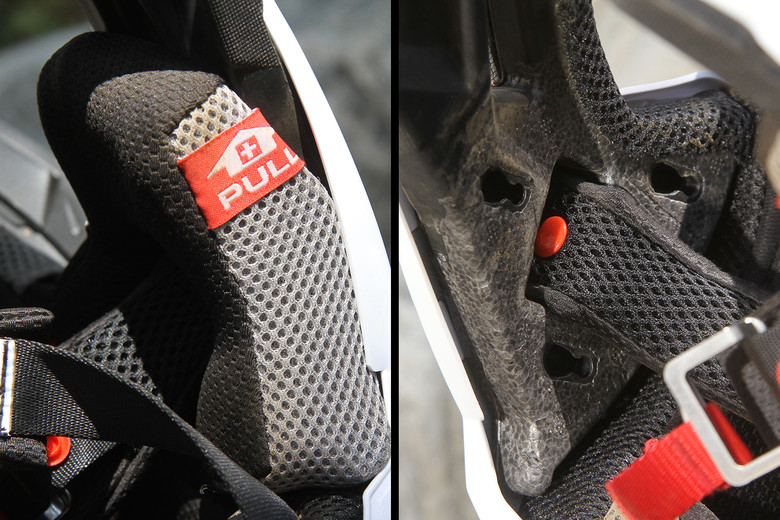 The cheek pads snap in like common pads, but have a slot that allows them to be pulled straight down and out of the helmet in case of an emergency.