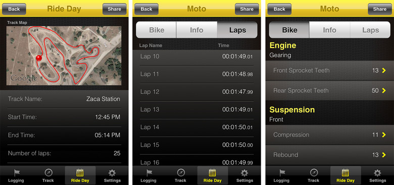 With all of the different options for saving data, the Moto App gives you a snap shot of your motos and total ride day.