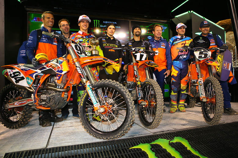KTM swept the night at round one of the 2014 Monster Energy Supercross, with wins in both classes, and the top two spots in the 450 class.