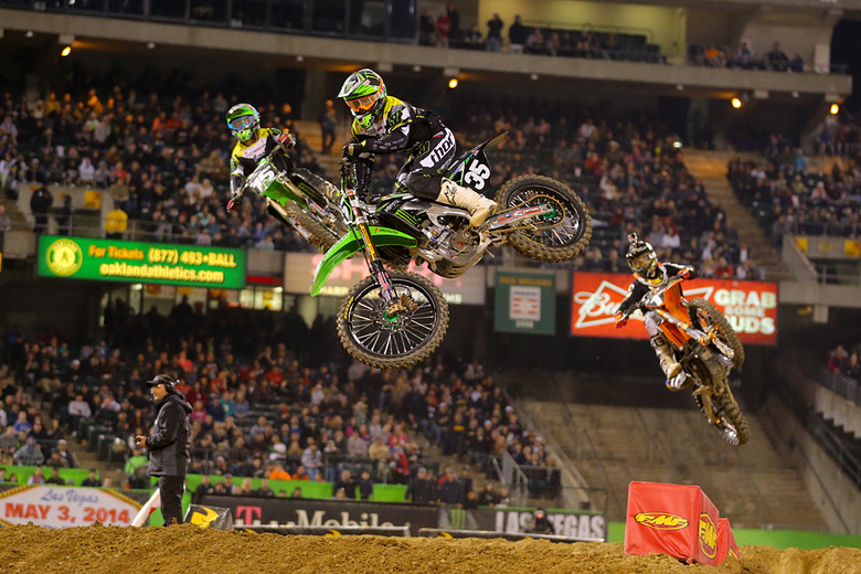 3. Justin Hill (Monster Energy Pro Circuit Kawasaki) scored his first Supercross podium in Oakland, and led nearly the first half of the main event.
