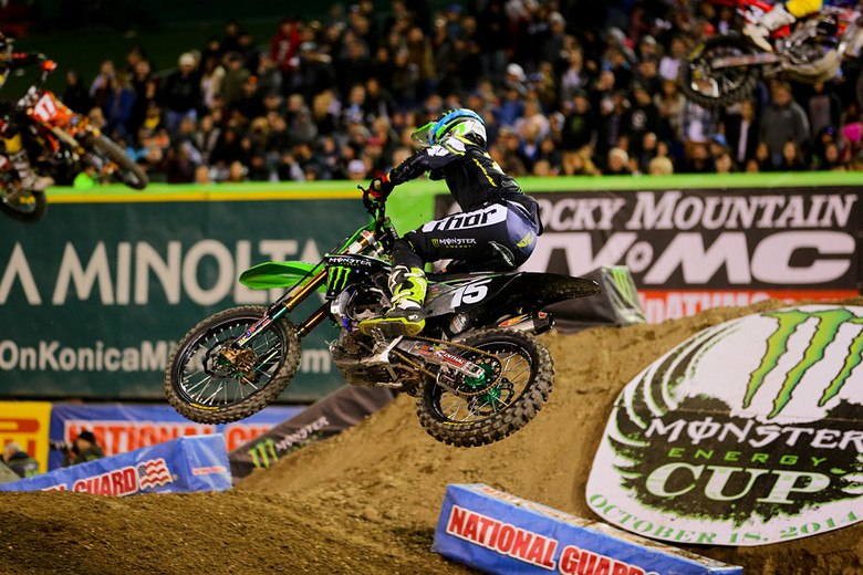1. Last week's finish was rough for Dean Wilson (Monster Energy Pro Circuit Kawasaki), with a lead on the last lap. Slipping clutch? Nope. They've got a plate/oil package figured out for him. Mechanical? Nope. We hear that the bike was on the dyno for two-and-a-half days afterwards trying to replicate the issue. Some sort of electrical gremlin seems to be the culprit. This week Dean was running in second behind Cole Seely for much of the race, and was in position to take over the lead when Cole went down with three to go.