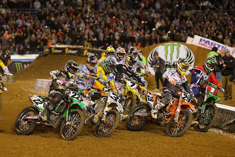 Andrew Short (BTO Sports/KTM) grabbed the holeshot to start the main event, but he was quickly displaced by Ryan Villopoto and James Stewart.