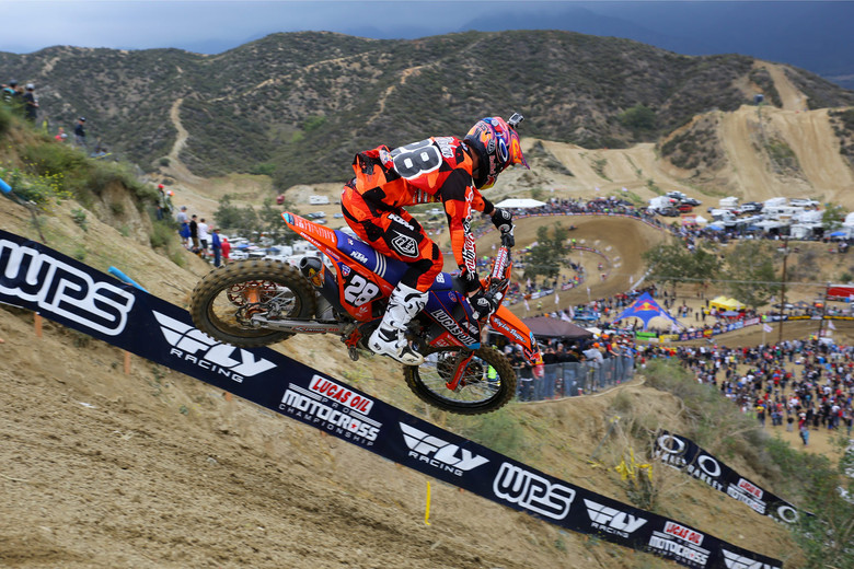Jessy Nelson had a pair of fourth-place finishes for third overall. He was in the lead for a portion of the first moto, and had a good battle with Marvin Musquin.