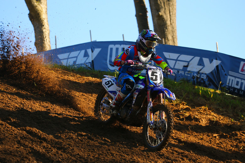 Justin Barcia is trying to lock down second in the 450 points race, and is on the gas here.