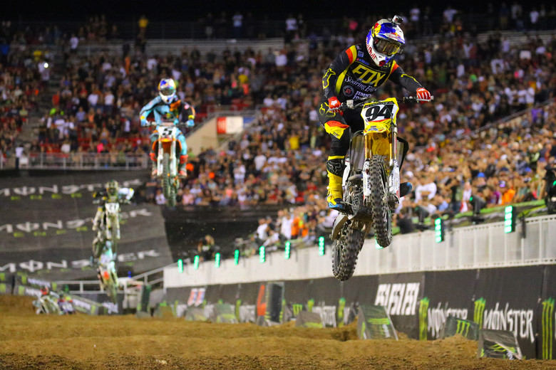 Ken Roczen's pair of wins, and a fourth in the middle main (he said he got a bad start in that one) scored him the overall win, and a nice $100,000 payday.
