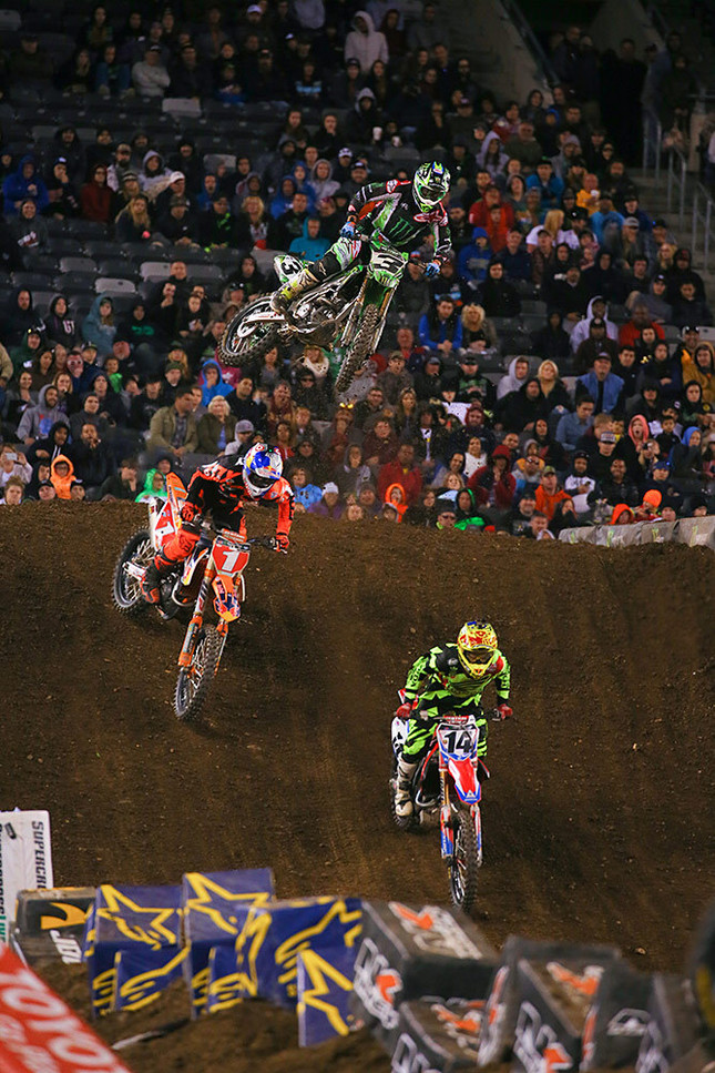 It was quite the heated battle between Cole Seely, Ryan Dungey, and Eli Tomac. Tomac got by both riders on the way to second. Cole grabbed the third, and it broke Ryan's streak of podium finishes. He'll settle for the title, though.