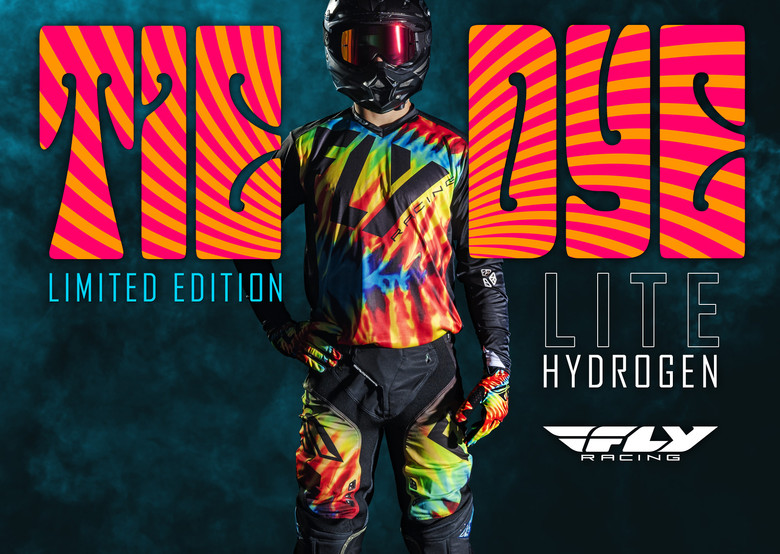 Release your inner free spirit with this limited edition racewear. Starting with the same flexible, lightweight and breathable materials as our standard Lite Hydrogen racewear, FLY Racing designers created this special limited edition retro graphic that hits the mark with its tie dye color burst accents.