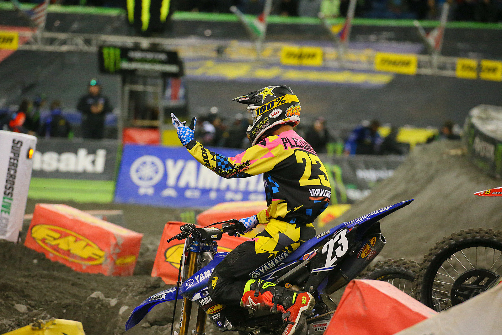 Aaron Plessinger was not too pleased with a red flag while he was running out front in the 250 main.