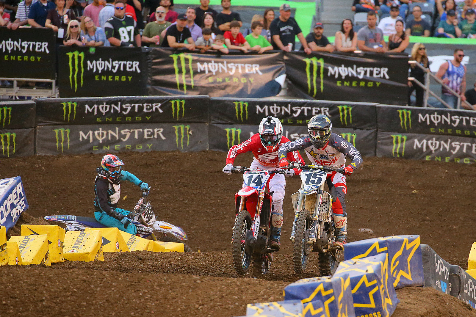 One of the best battles during the prelims was this Semi between Cole Seely (Team Honda HRC) and Dean Wilson (Rockstar Energy Racing Husqvarna). They traded the lead and went bar-to-bar for a bit, with Cole coming out on top. Unfortunately, he reinjured the adductor muscle that had kept him out of the previous couple of rounds, so his attendance in Vegas is questionable. Dean went on to finish tenth in the main.