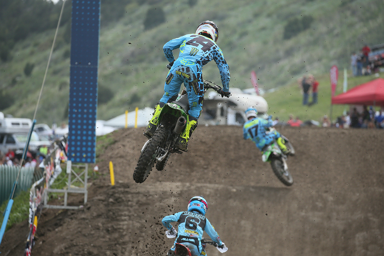 Austin Forkner was upset after finishing with a 2-3 score, and still getting fourth overall. In the first moto, the top five were all spaced about this far apart, and they were all flying.