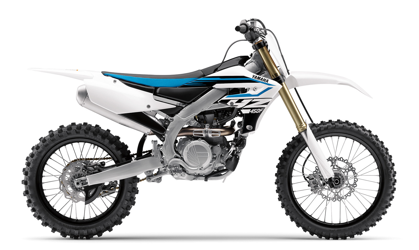 Want black wheels instead of the blue? Opt for the white 2018 Yamaha YZ450F.