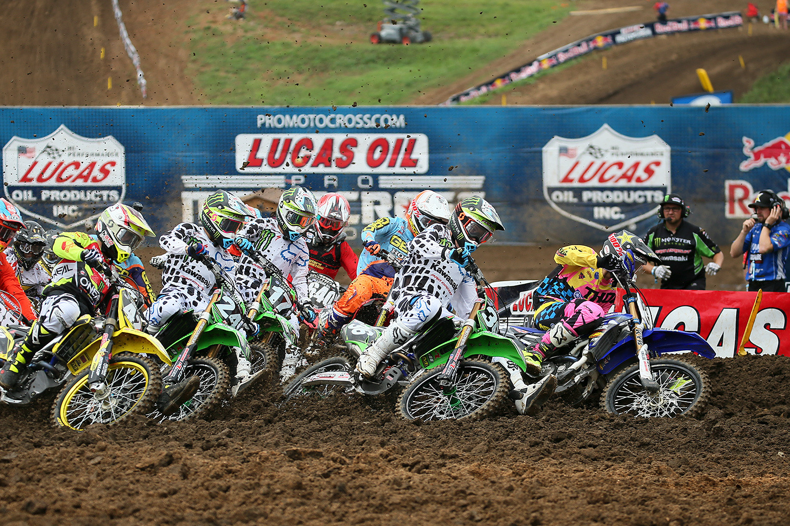Well here's a rare sight...Aaron Plessinger nabbing a holeshot. Even better, he did the same thing in moto two. The first moto resulted in a win, and he was second in moto two, but that was plenty good enough for the overall.