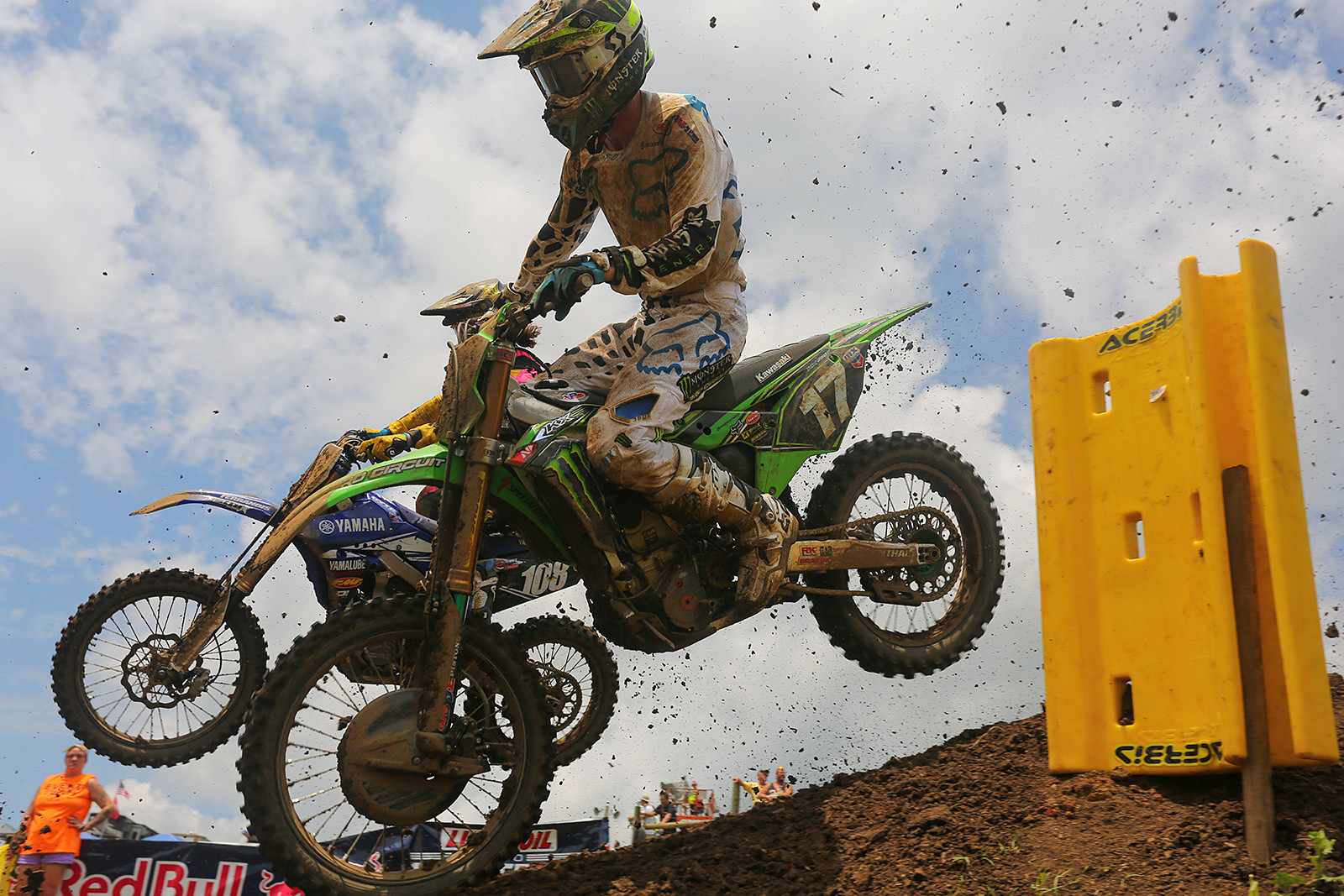 Dylan Ferrandis and Joey Savatgy are both moto winners this season, but both were on the ground (along with another winner, Jeremy Martin) in the first turn. Dylan and Joey finished ninth and 11th, respectively, in the first moto.