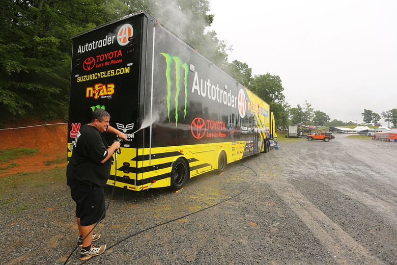 The trucks are rolling showpieces, and get washed more often than maybe some of the riders. That includes making sure it's spotless after a drive...even if you have to wash while it's raining.