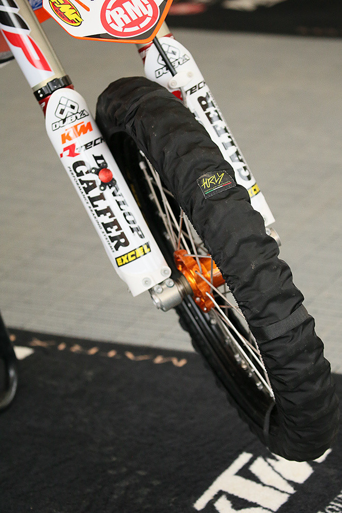 If you want to keep your tires spotless, we saw these tire covers on Blake Baggett's bike...