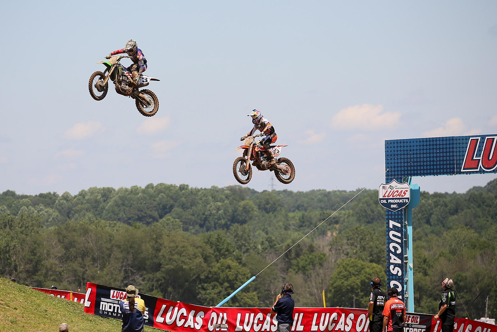After Marvin led for a couple laps, Eli Tomac took over the top spot. After making the pass, he went for a quick boot adjustment over the newly-configured LaRocco's Leap.