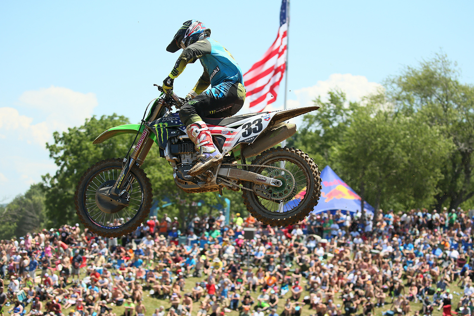 After tweaking his wrist in practice at Muddy Creek, Josh Grant had it checked out at home. A last-minute decision had him back in action for RedBud...after a press release had been sent out saying that he'd be sidelined for the weekend. Miss all the fun? No way. He scored a tenth in moto one, and a fifth in moto two for sixth overall.