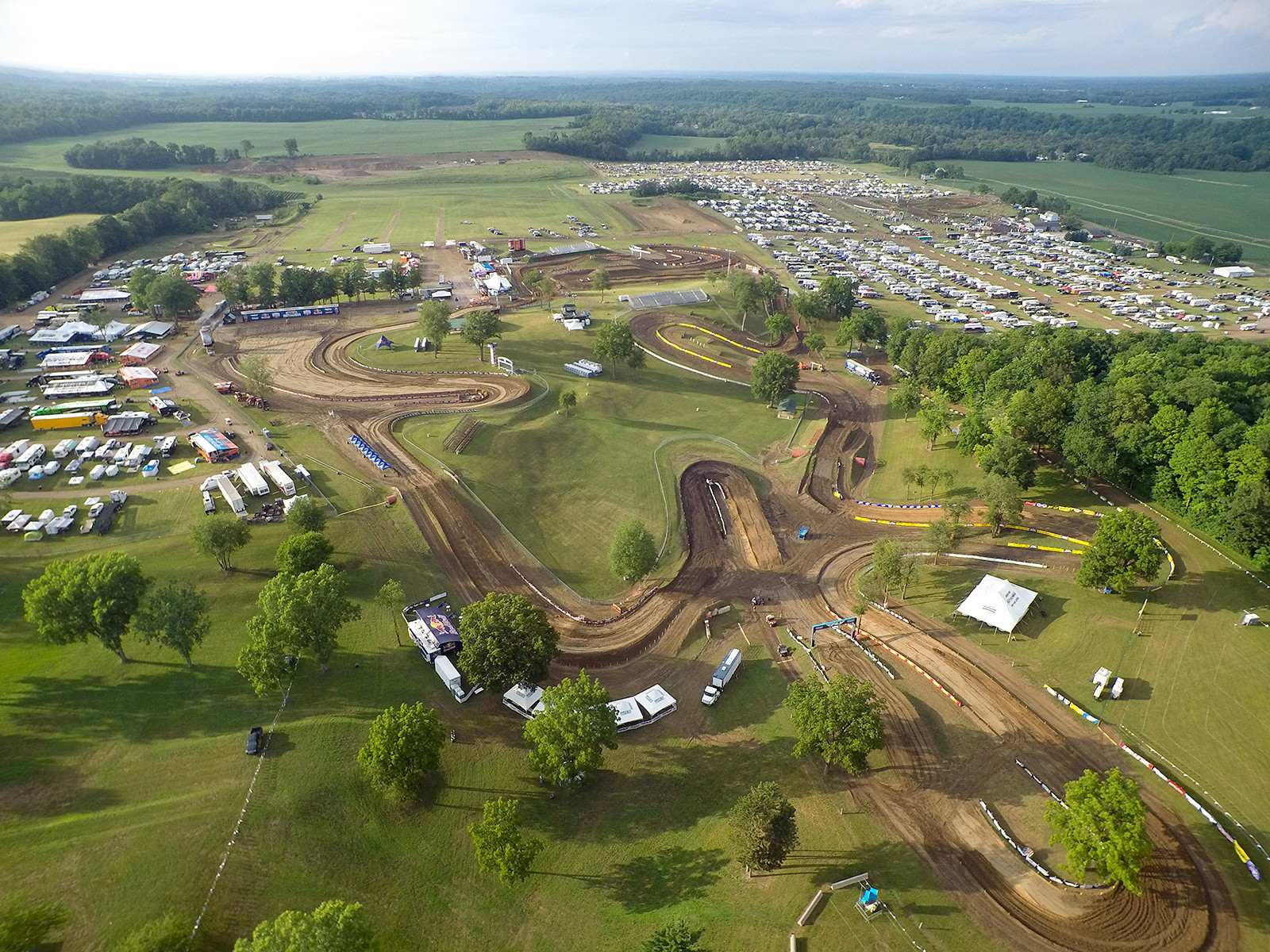 There it is, a little bit of moto heaven on Friday night before Saturday's pro action. Those are the pro pits on the left, and public camping and night track on the right.