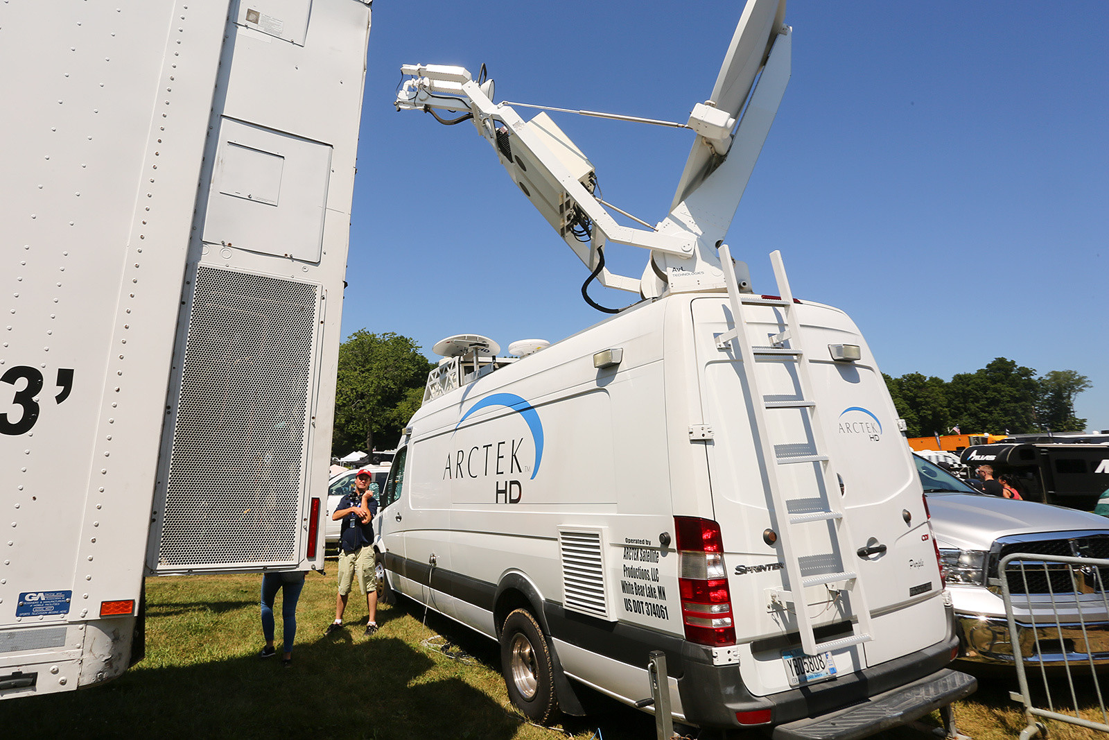 This van handles the video uplink, and there's also a separate dish so that he can preview what the viewers are seeing.