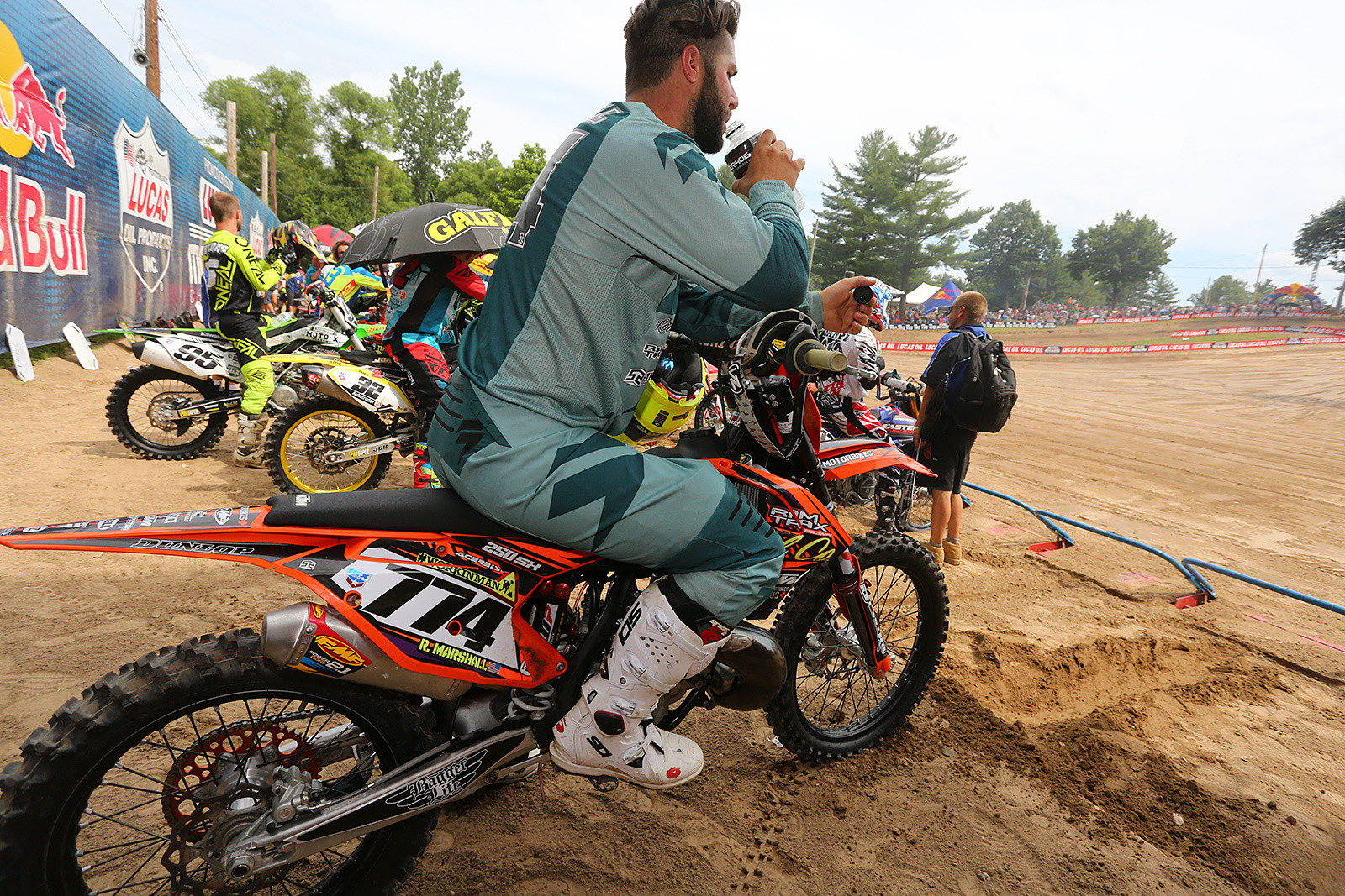 Robbie Marshall said he had to take a couple days off from his day job as an excavator operator to make it to race The Wick. We love the Working Man art on the side of his KTM. The locals at Southwick love their two-strokes, and Robbie was making this one sing. Lining up for moto two, he did mention that the air-conditioned cab of the equipment he uses during weekdays was starting to sound appealing. It was plenty warm and muggy at the track.