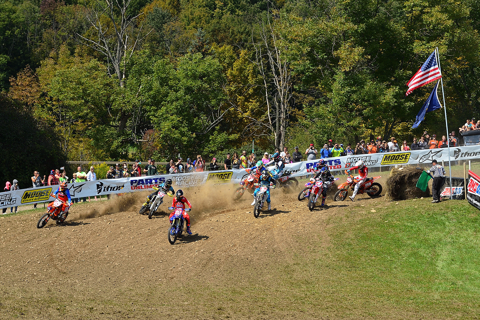 Ricky Russell pulled the holeshot in the XC1 Pro class, and set the pace for the first part of the race.