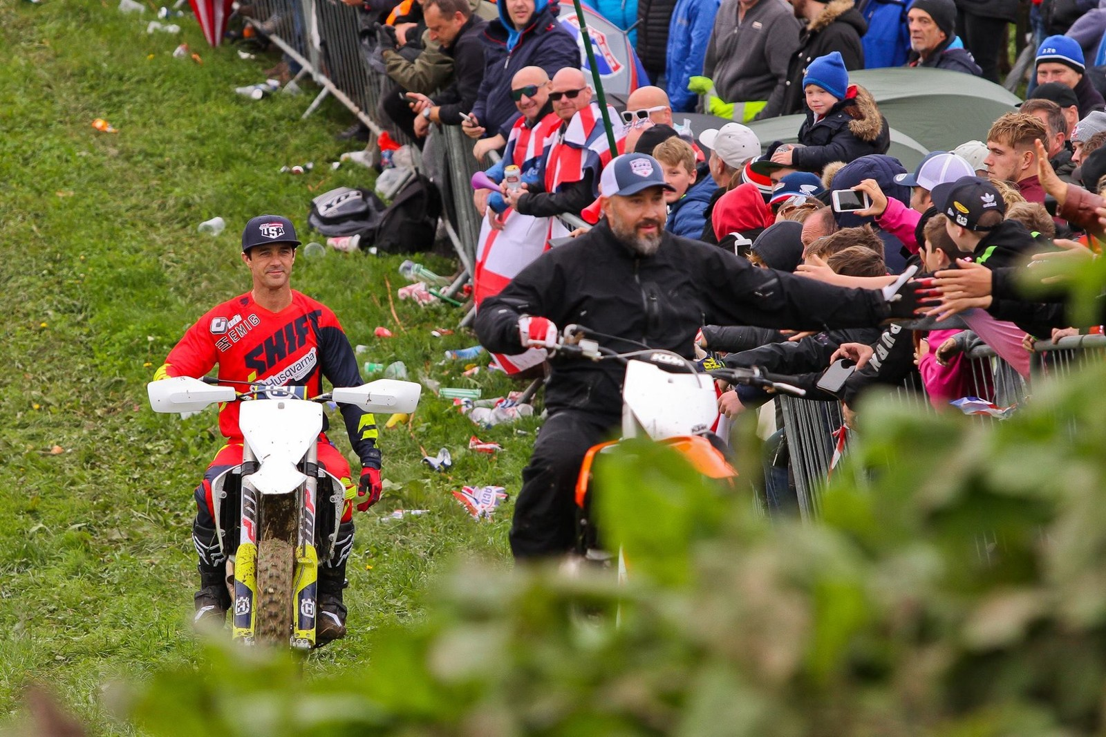 Conditions on the track meant that the Legend's Lap just circled next to the spectators, but it's always good to see these guys swinging a leg over a dirtbike. Pictured here are Jamie Dobb and Jeff Emig.