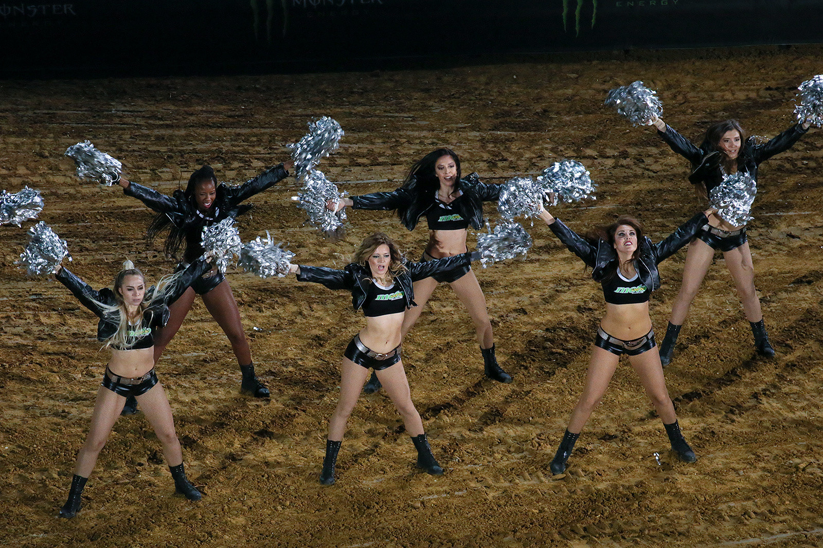 Oh-la-la. The pop-pom dancers are a staple of the action at the Paris Supercross.