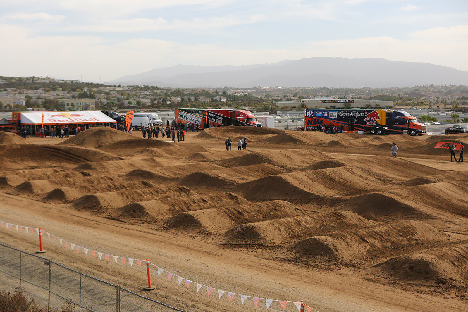 KTM's new RD (Roger DeCoster, and Ryan Dungey) Field above their headquarters in Murietta, CA. This spot will be home to two Supercross tracks, and an Endurocross training zone. The whoops? They were big, slippery, and giving riders some fits. But they'll be a good real-world test before they hit the track this season.