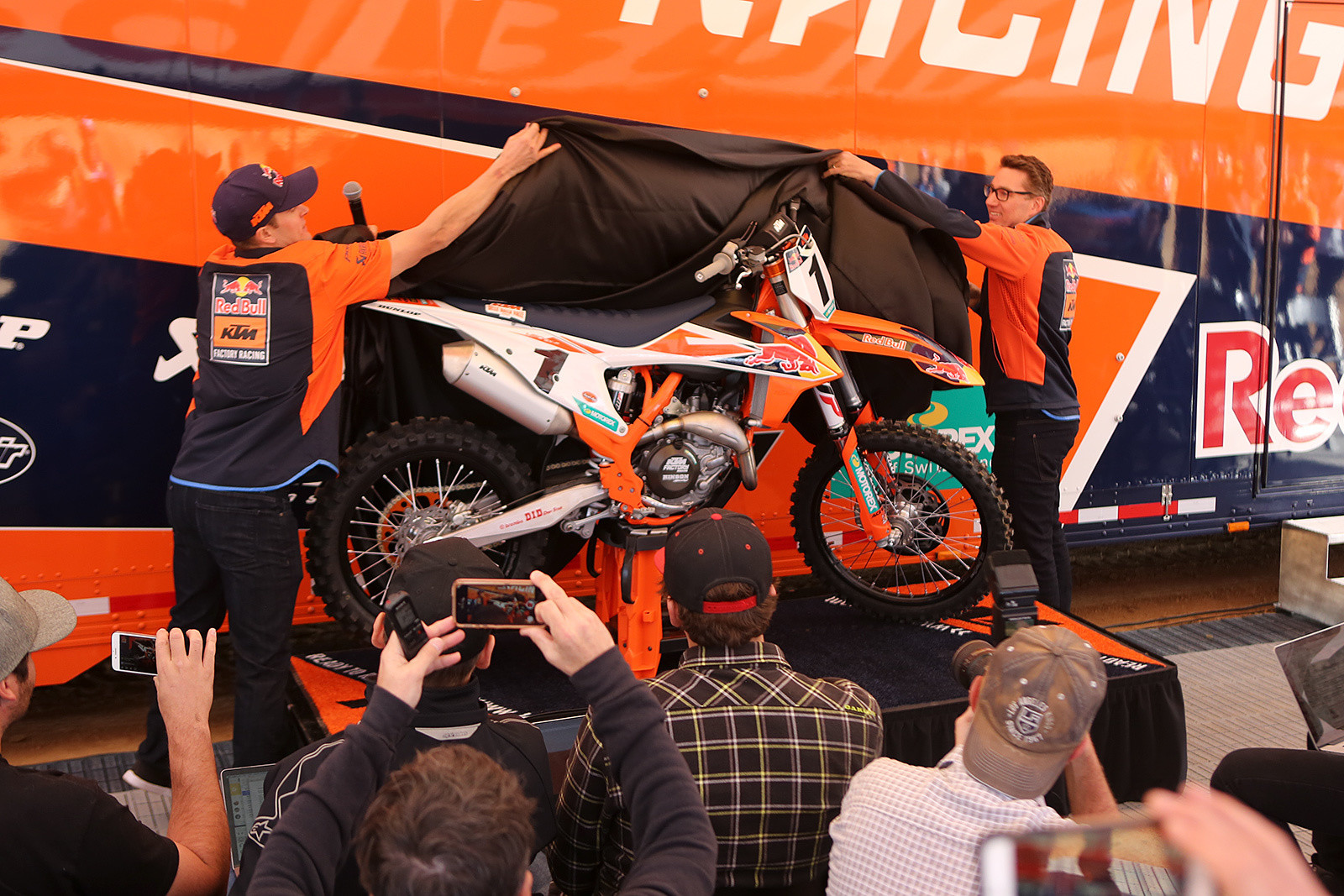 Ryan Dungey was on hand to help KTM North American President, John Hinz, with the unveiling of the new bike.
