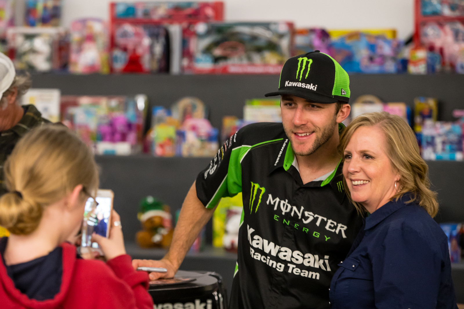 Eli Tomac spending some time with the Kawasaki staff and their families at their Christmas party.