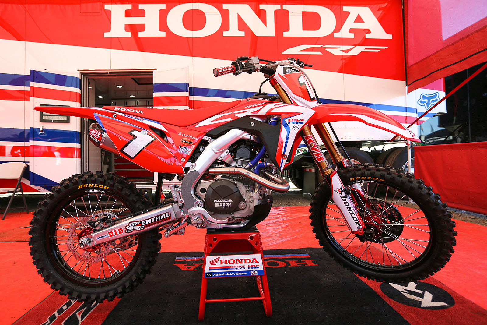 How about some random number one bikes? These either never hit the track at all (like Kenny's outdoor bike that was on display at Hangtown), were on the track for a press day session (Zach Osborne at Ironman, and Justin Hill at Las Vegas), or were on the bike for a single race (Eli Tomac at the Monster Energy Cup).