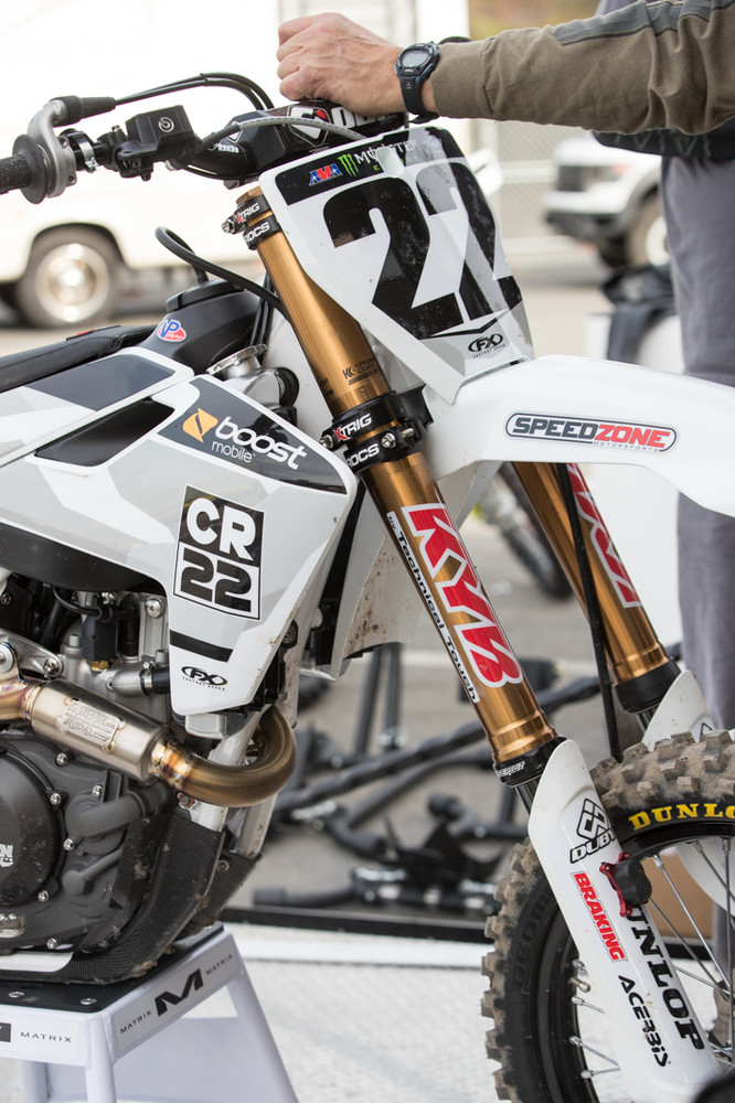 KYB/Technical Touch stepped up to support Chad this year, providing him with a few sets of suspension, while the U.S. KYB staff is supporting him at the races.