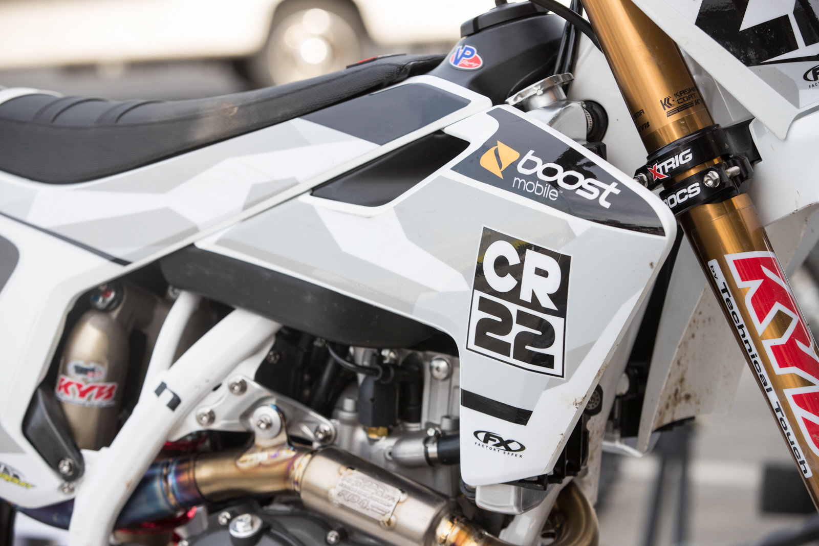 Chad Reed's layout is clean, featuring his own branding, along with Boost Mobile Australia and Speedzone Motorsports.