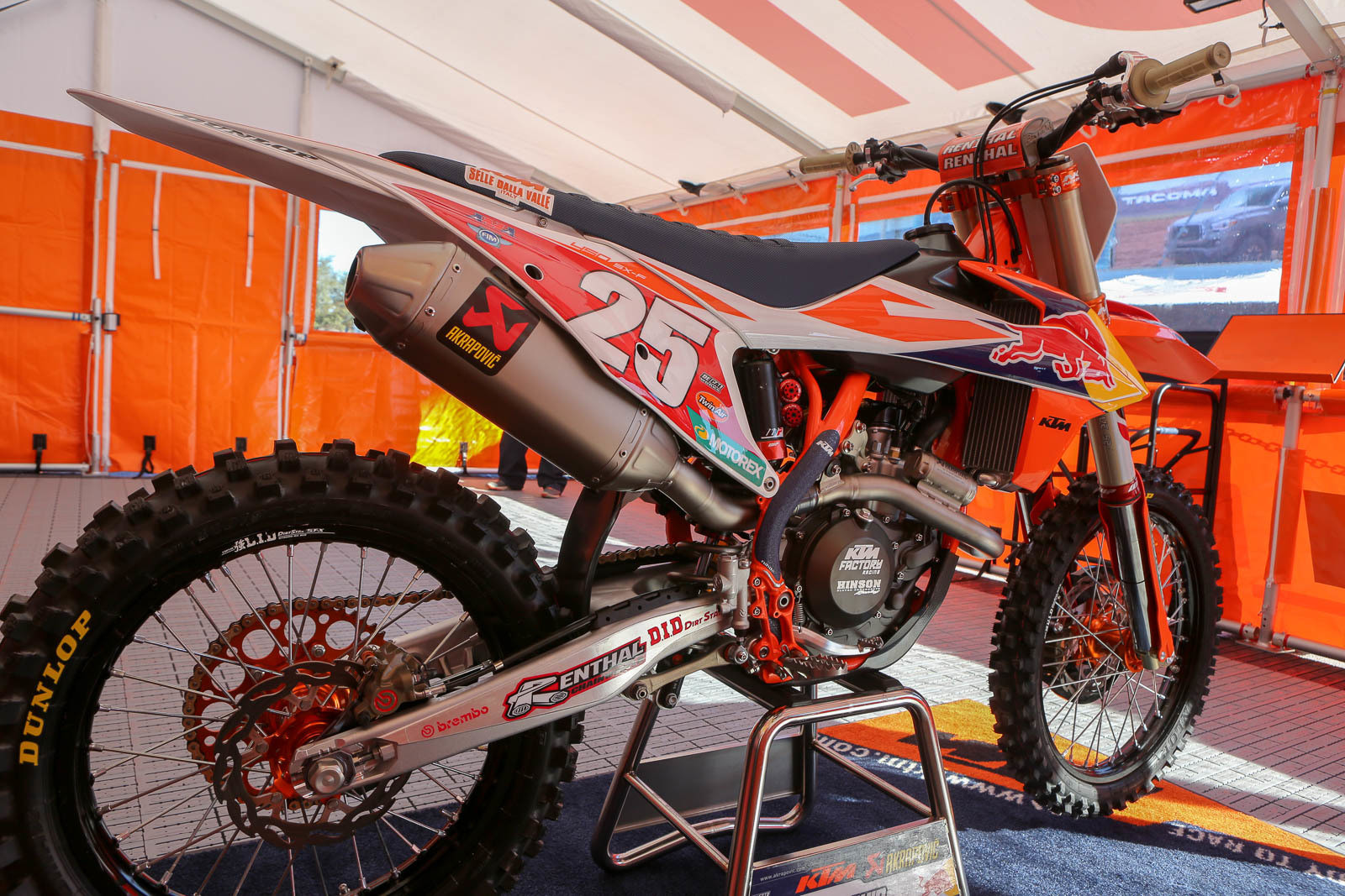 Marvin Musquin's bike is looking good, sporting the red plate.