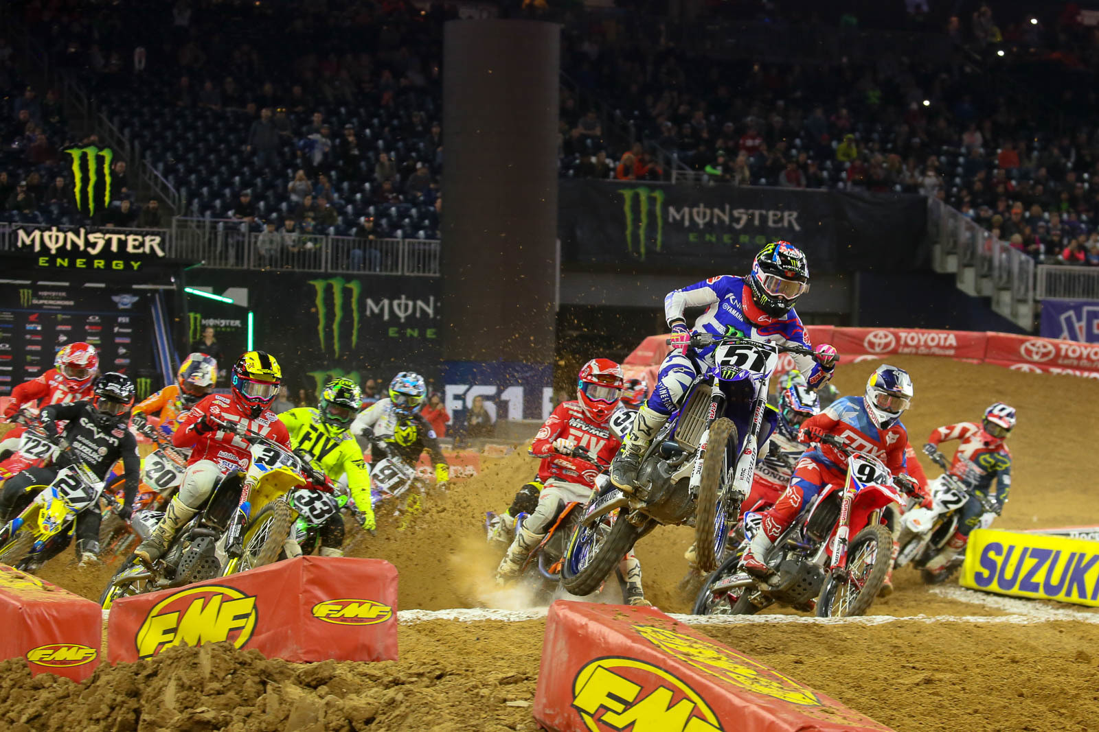 Justin Barcia scored the 450 main event holeshot on Saturday night, and with a pair of podiums so far, plus him being in the top three, it sure seems unlikely that Yamaha would cut him loose at the end of his guaranteed six-race deal.