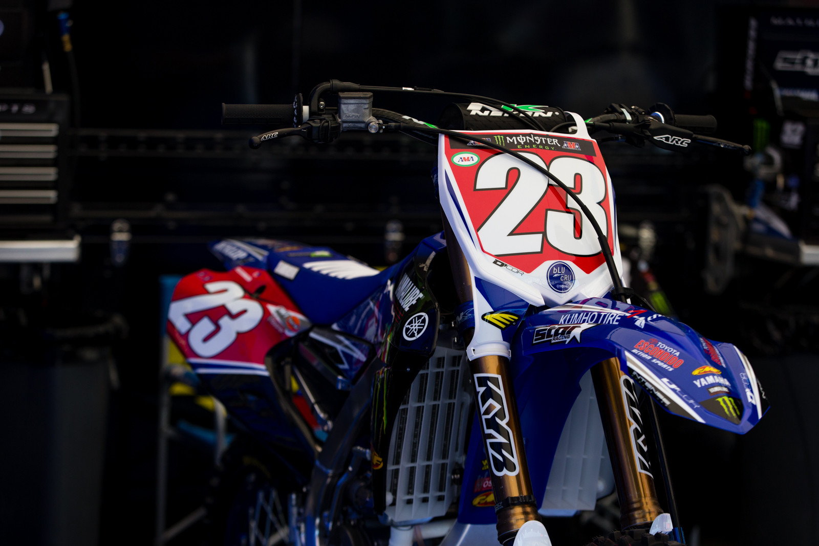 Aaron Plessinger's Monster Energy/Yamalube Star Racing YZ250F looks pretty good with a splash of red.