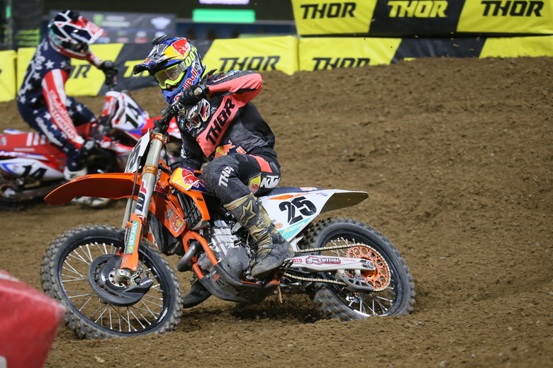 Marvin Musquin charged forward all race and ended up second.