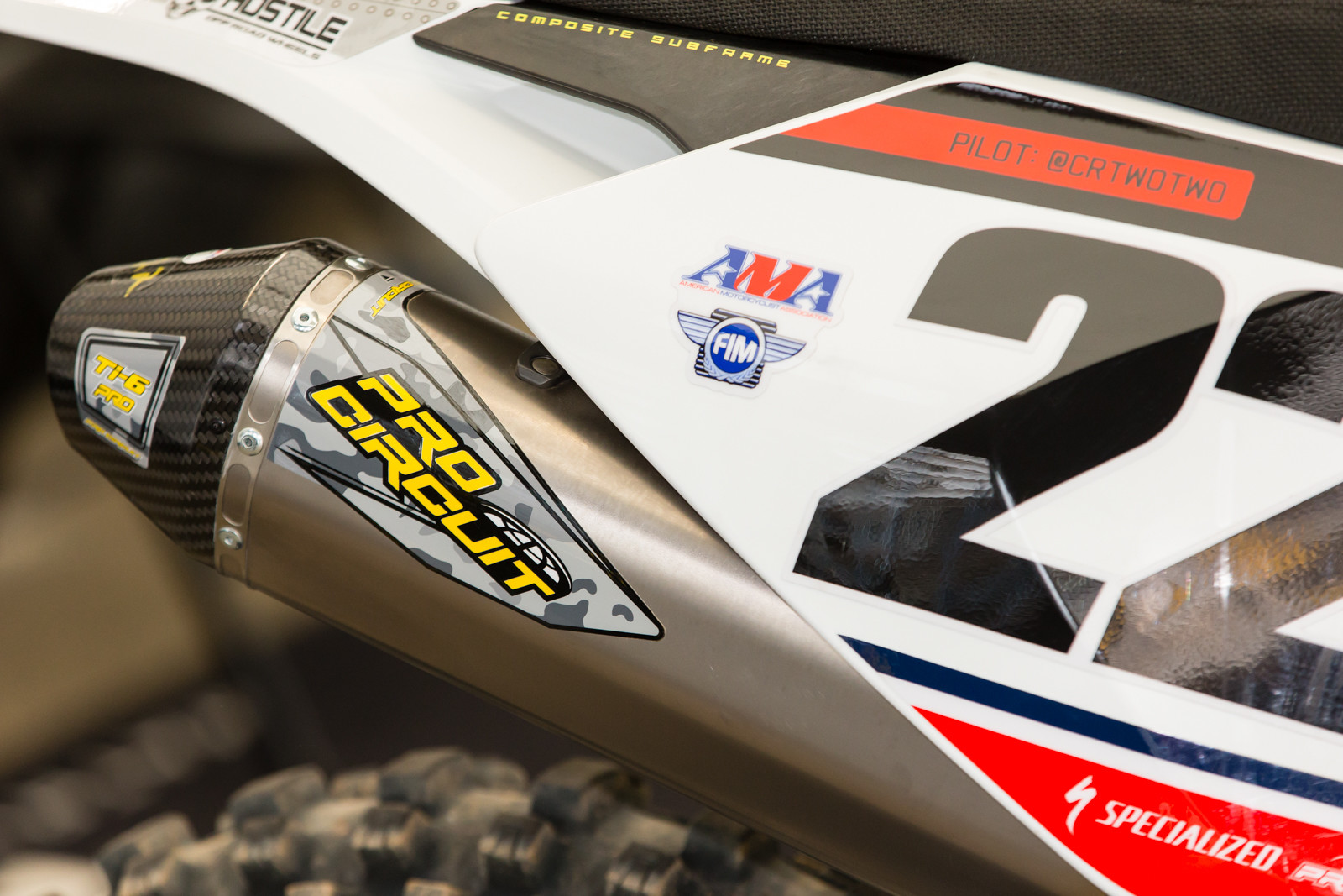 Pro Circuit pipe stickers were customized per team for the occasion.