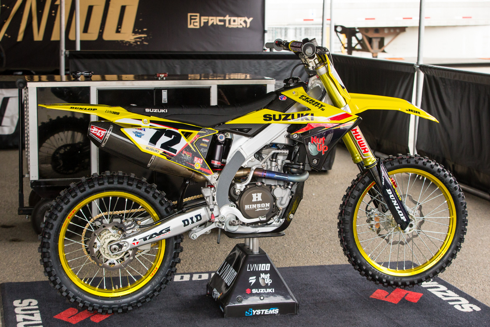 With Matt Bisceglia out injured, Josh Hansen's bike was alone under the LVN100 tent.