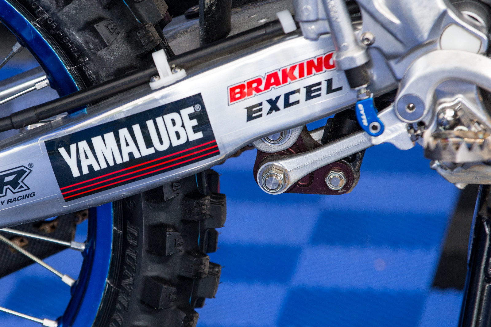 Aaron Plessinger's YZ250F uses a stock link arm coupled with a factory Yamaha bell crank.