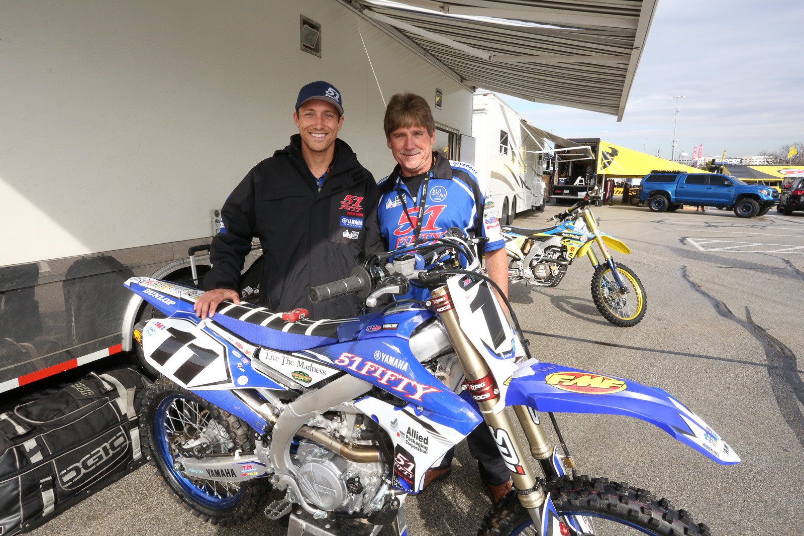 Kyle Chisholm was going to be pitting out of a rental car this weekend, as he moves to the 450 class after working with 51Fifty on the West Coast. Fortunately, he's got lots of friends. The Rock River crew hauled his bike and fuel, and he was camping here with the rig that Big James Stewart drove out for Malcolm's racing efforts.