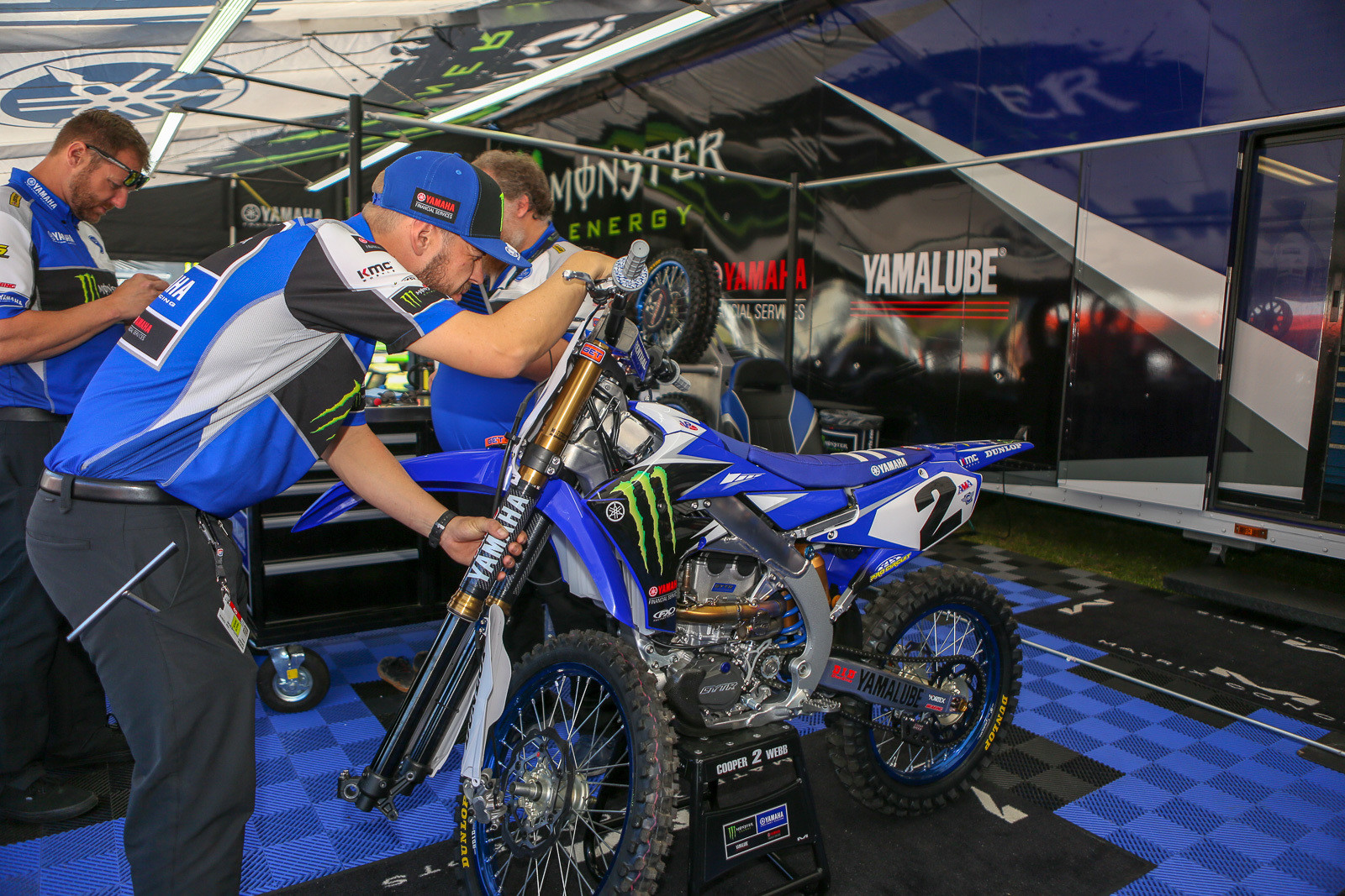 The Yamaha Factory Team pit area and gear had a different look after they parted company with their former title sponsor, and had to remove a ton of their logos.