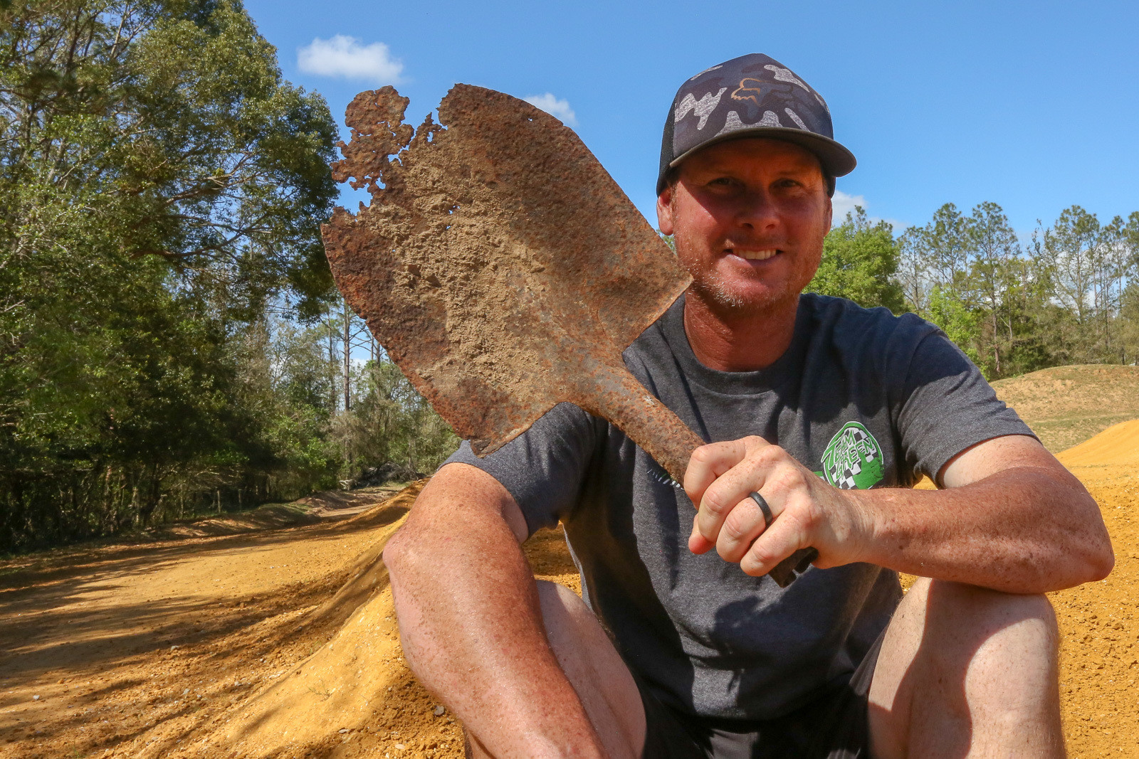 Tim said he used to prep the gate at his original track with this shovel...which should give you an idea of how long he's had his track.