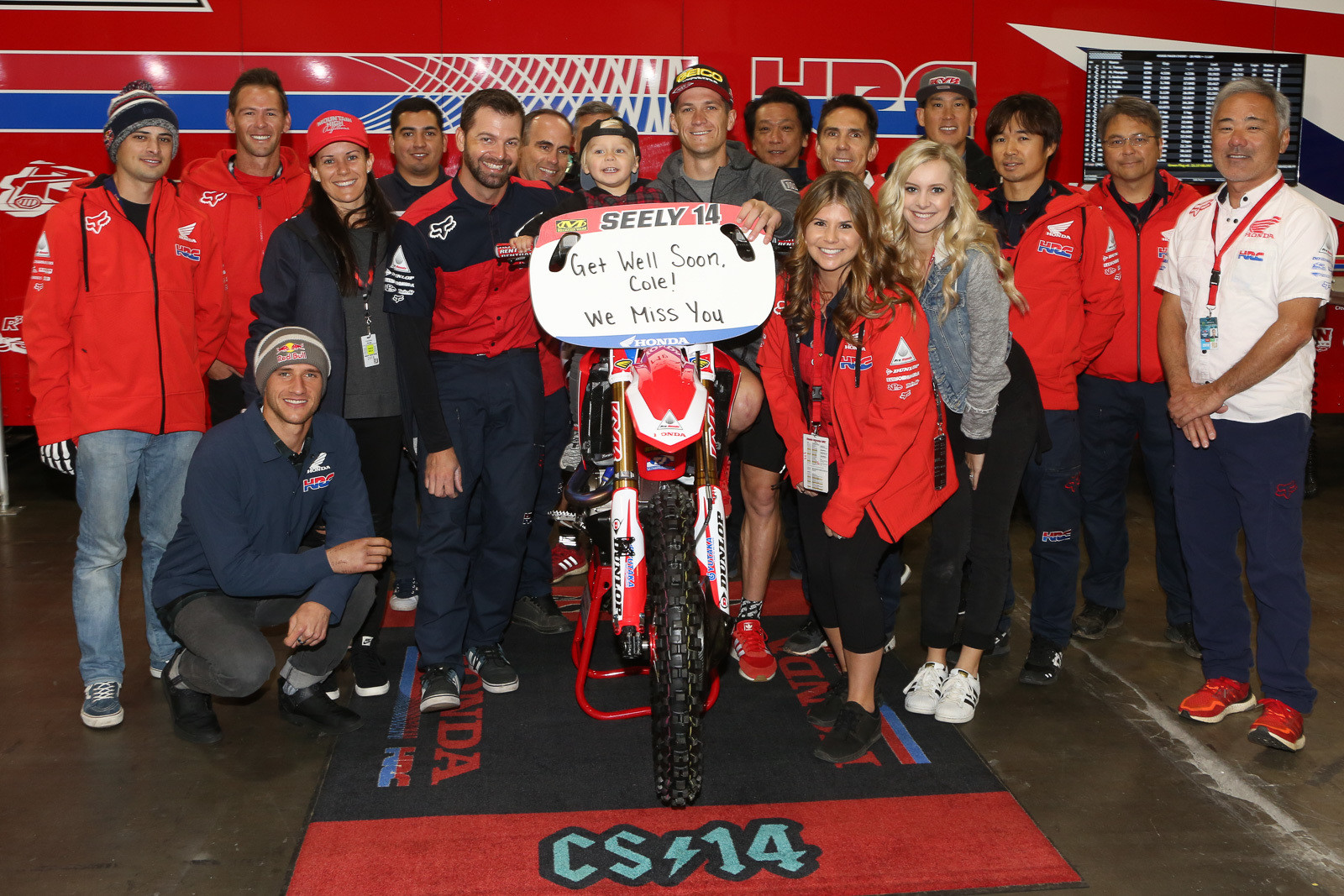 We'll second this one. The whole Honda crew got together to wish a quick return for Cole Seely after his tough crash in Tampa.
