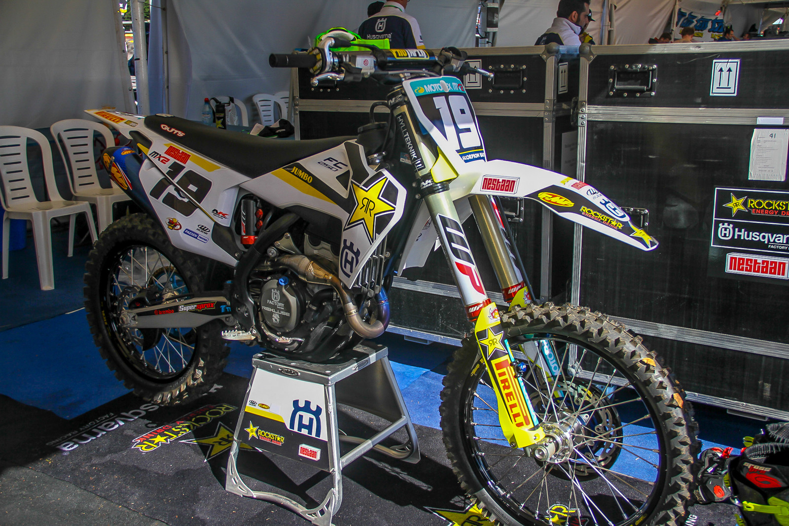 The Rockstar Husqvarna MX2 riders are already on the 2019 FC 250s, featuring the new chassis, subframe and complete bodywork.