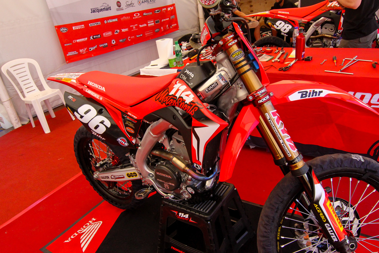 114 Motorsports Honda is a new team for this year, featuring MX2 riders Hunter Lawrence and Bas Vaessan, with prior women's world champ Livia Lancelot managing the effort. The team is on the latest CRF250R with some engine help from the US Geico team along with support from Rekluse, FMF, KYB/Technical Touch, and more. Expect a deeper look into this machine at the next round.