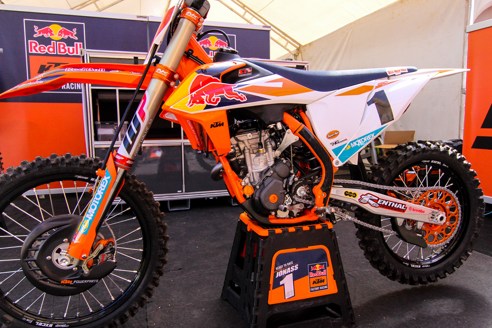 The 2019 KTM 250 SX-F of Pauls Jonass. Much like the Husky team, the Red Bull KTM MX2 riders already have 2019 race bikes, with new chassis and bodywork. The engine? We expect the production bike to have some small changes but for the most part it'll be the same technical architecture as the prior year.